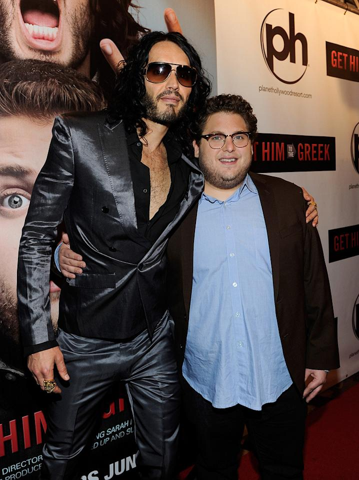 """<a href=""""http://movies.yahoo.com/movie/contributor/1809838319"""">Russell Brand</a> and <a href=""""http://movies.yahoo.com/movie/contributor/1808716500"""">Jonah Hill</a> at the Las Vegas screening of <a href=""""http://movies.yahoo.com/movie/1810081179/info"""">Get Him to the Greek</a> - 05/20/2010"""