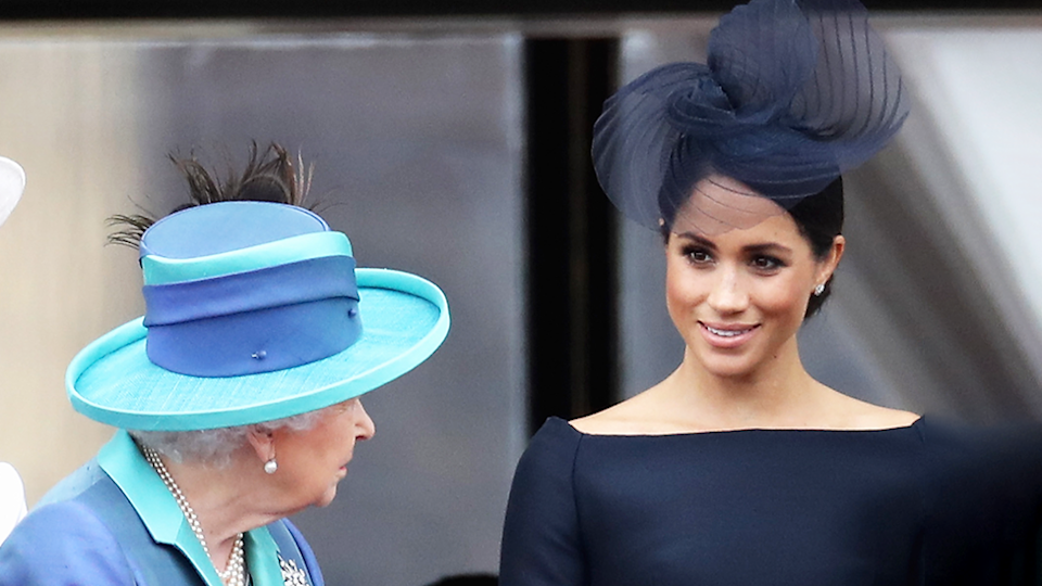 Image of Meghan Markle looking at Queen to represent 'Megxit' on Collins 2020 Word list