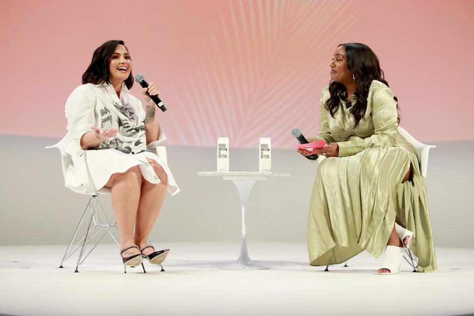 Lovato spoke with Teen Vogue editor in chief Lindsay Peoples Wagner about body acceptance. (Photo: Rich Fury/Getty Images for Teen Vogue)