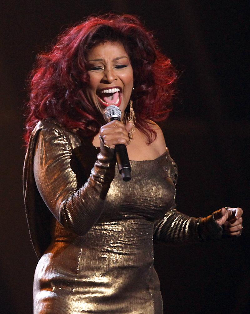 Chaka Khan performs during the in memoriam for Whitney Houston at the BET Awards on Sunday, July 1, 2012, in Los Angeles. (Photo by Matt Sayles/Invision/AP)
