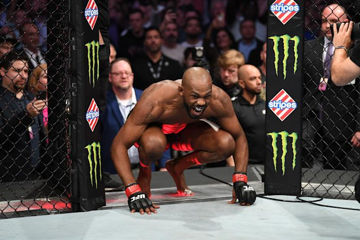 HOUSTON, TEXAS - FEBRUARY 08:  Jon Jones enters the octagon prior to his light heavyweight championship bout during the UFC 247 event at Toyota Center on February 08, 2020 in Houston, Texas. (Photo by Josh Hedges/Zuffa LLC via Getty Images)