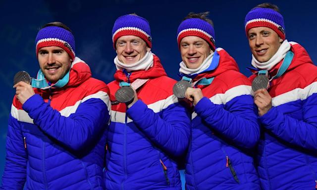 """<span class=""""element-image__caption"""">Norway's silver medallists Lars Helge Birkeland, Tarjei Boe, Johannes Thingnes Boe and Emil Hegle Svendsen on the Olympic podium ... why so many names?</span> <span class=""""element-image__credit"""">Photograph: Martin Bernetti/AFP/Getty Images</span>"""