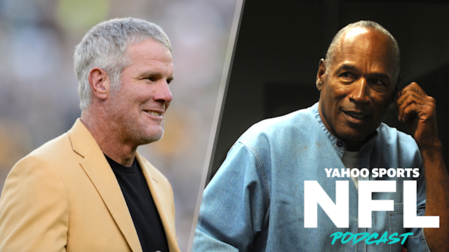 Two former NFL stars in Brett Favre and O.J. Simpson made waves this week on social media. Terez Paylor and Charles Robinson discuss on the latest Yahoo Sports NFL Podcast. (Photos by Hannah Foslien/Getty Images, Jason Bean-Pool/Getty Images)