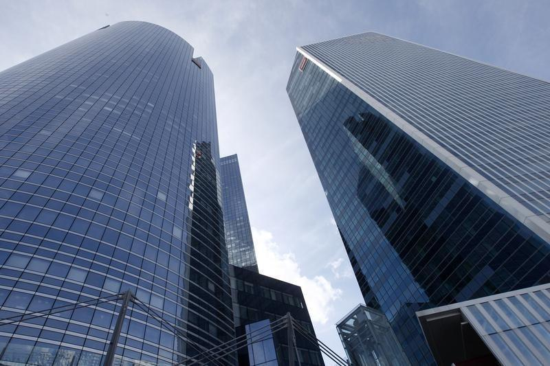 General view of French bank Societe Generale headquarters buildings in the business district of La Defense, near Paris
