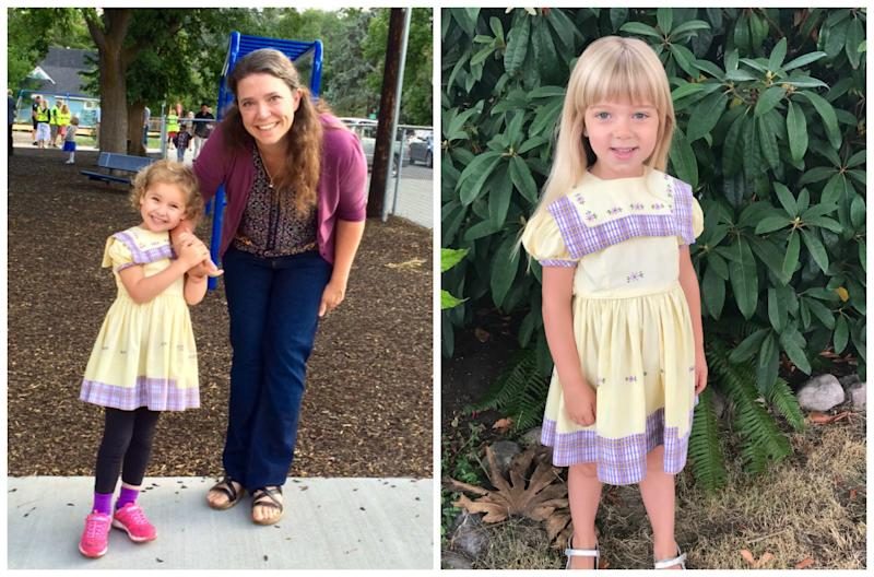 Jenny's oldest daughter, 6-year-old Ally (left), was the 17th person to wear the dress. Her niece, Sylvie Johnson (right), was the 19th.  (Courtesy of Jenny Hirt)