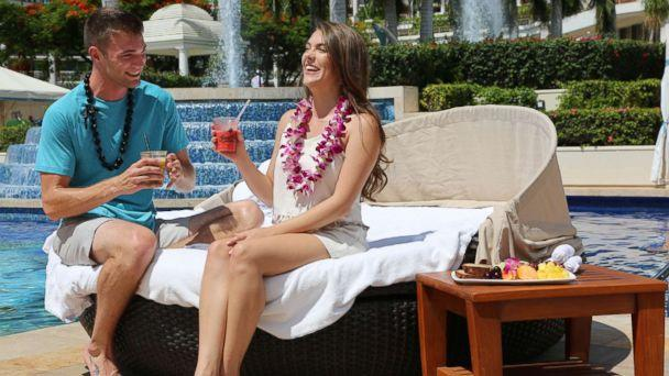 PHOTO: Josh and Michelle enjoying their date by the pool and soaking up the sun in Maui. (Grand Wailea Resort)