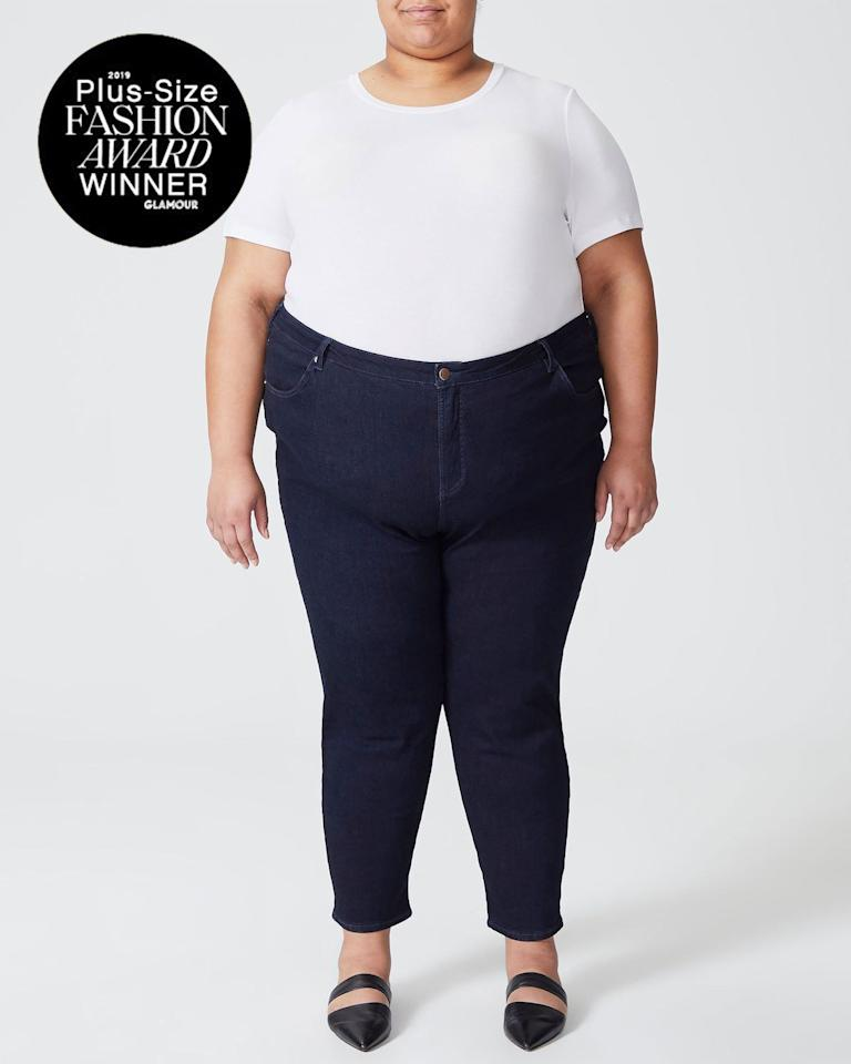 """As a size 14/16, it's impossible for me to find jeans that fit in the butt but don't gape at the waist. And jeans that don't rip in the thigh within three months? Forget about it. Or at least, that was the case before I discovered Universal Standard's Seine High-Rise Skinny Jeans. Not only are they insanely comfortable (I leave them on when I get home from work—that never happens), but I also love that they come in a cropped length that hits perfectly at the ankle for my 5' 3"""" frame.—<em>Lindsay Schallon, senior beauty editor</em> $90, Universal Standard. <a href=""""https://click.linksynergy.com/deeplink?id=3r4YdkDiq/o&mid=1237&murl=https%3A%2F%2Fshop.nordstrom.com%2Fs%2Funiversal-standard-seine-high-waist-skinny-jeans-regular-plus-size%2F4777227"""">Get it now!</a>"""