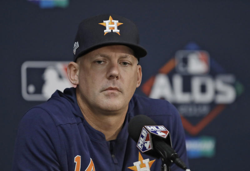 Houston Astros manager AJ Hinch answers a question during a news conference Sunday, Oct. 6, 2019, in St. Petersburg, Fla. The Astros take on the Tampa Bay Rays in Game 3 of a baseball American League Division Series on Monday. (AP Photo/Chris O'Meara)