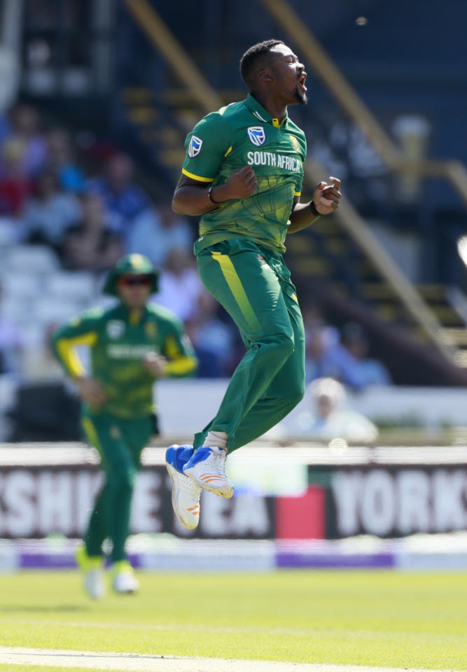 Britain Cricket - England v South Africa - First One Day International - Headingley - 24/5/17 South Africa's Andile Phehlukwayo celebrates taking the wicket of England's Alex Hales Action Images via Reuters / Jason Cairnduff Livepic