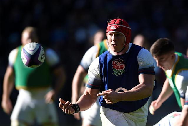 Rugby Union - England Training - Twickenham Stadium, London, Britain - February 16, 2018 England's Dylan Hartley during training Action Images via Reuters/Adam Holt