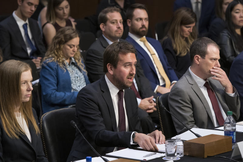 From left Monika Bickert, head of global policy management at Facebook, Nick Pickles, public policy director for Twitter, and Derek Slater, global director of information policy at Google testify before the Senate Commerce, Science and Transportation Committee on how internet and social media companies are prepared to thwart terrorism and extremism, Wednesday, Sept. 18, 2019, on Capitol Hill in Washington. (AP Photo/J. Scott Applewhite)