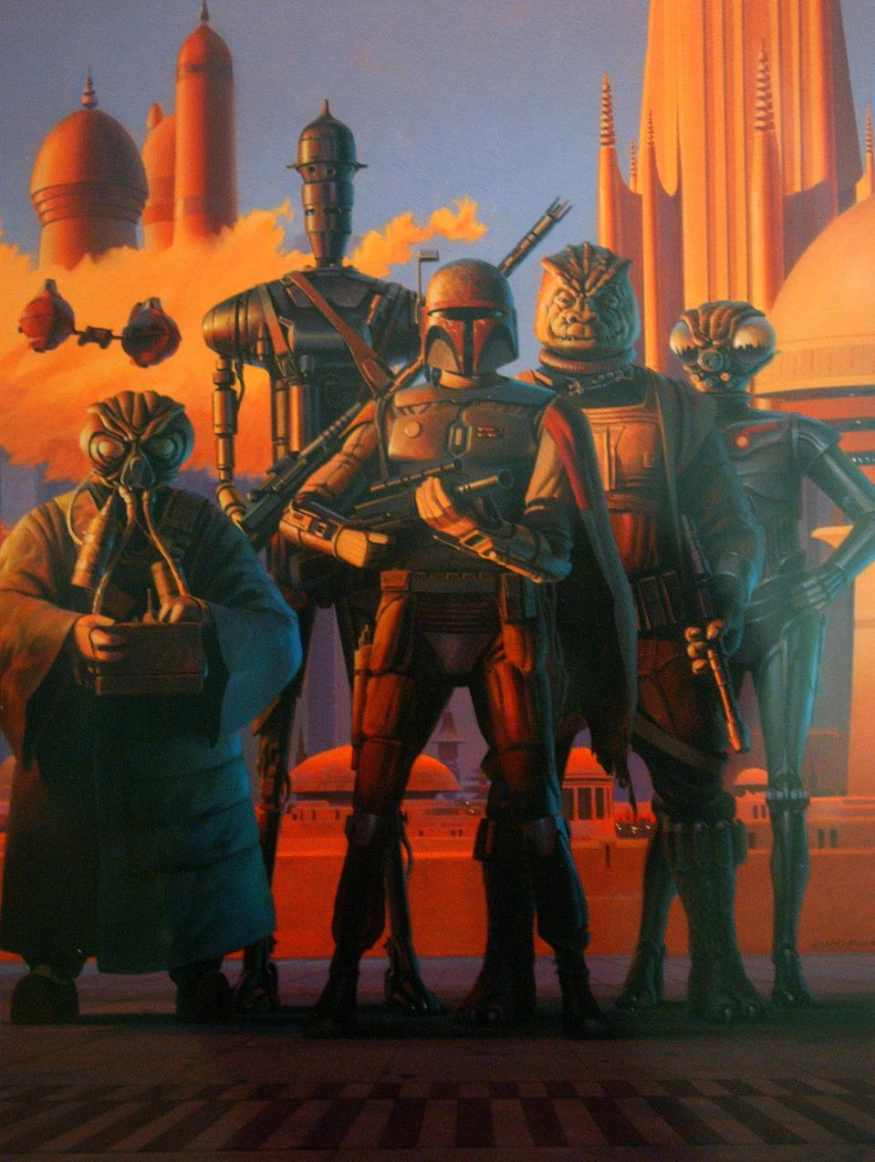 """403367 12: Original artwork titled """"Bounty Hunters in Cloud City"""" by Ralph McQuarrie is displayed April 4, 2002 at the exhibit """"Star Wars: The Magic of the Myth"""" at the Brooklyn Museum of Art in Brooklyn, New York. The exhibition, which is making its last stop in the United States, presents original costumes, models, props and artwork used in the original film trilogy; """"Star Wars: A New Hope,"""" """"The Empire Strikes Back"""" and """"Return of the Jedi."""" (Photo by Spencer Platt/Getty Images)"""