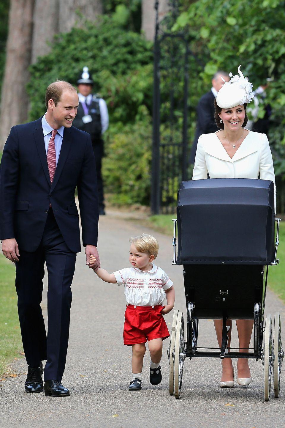 "<p>Duchess Kate pushes Princess Charlotte in a stroller as her family arrives at the Church of St. Mary Magdalene for <a href=""https://www.harpersbazaar.com/celebrity/latest/a22075363/kate-middleton-dress-prince-louis-christening-compared-prince-george-princess-charlotte/"" rel=""nofollow noopener"" target=""_blank"" data-ylk=""slk:Charlotte's christening"" class=""link rapid-noclick-resp"">Charlotte's christening</a>. </p>"