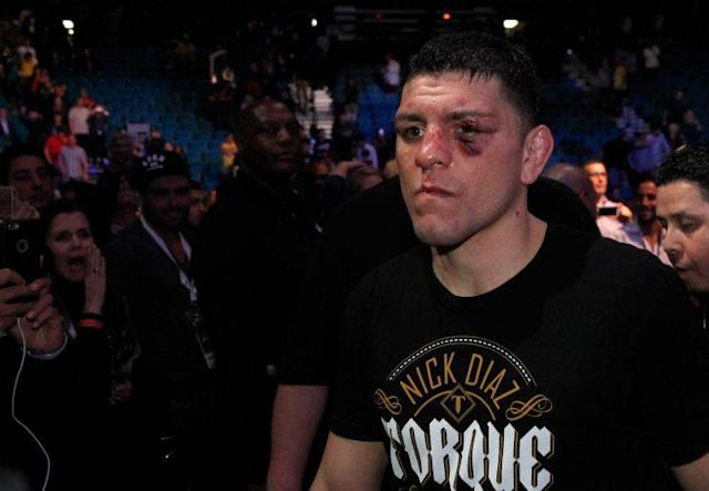 "<a class=""link rapid-noclick-resp"" href=""/ncaaf/players/213798/"" data-ylk=""slk:Nick Diaz"">Nick Diaz</a> faces a suspension from USADA as a result of a whereabouts violation. (Getty Images)"