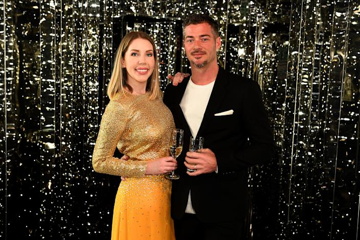 LIVERPOOL, ENGLAND - FEBRUARY 25:  Katherine Ryan and Bobby Kootstra attend a drinks reception on board Virgin Voyages' new cruise ship 'Scarlet Lady' on February 25, 2020 in Liverpool, England. (Photo by Jeff Spicer/Getty Images for Virgin Voyages)