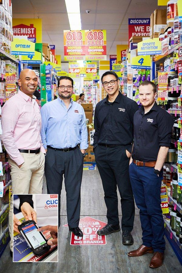 From L - R: Rizan Mawzoon, Head of Transportation at Cohesio Group, Mark Finocchiaro, Managing Partner and Director at Chemist Warehouse, Edwin Chong, Project Manager and Tim Noakes, Development Lead at Cohesio Group