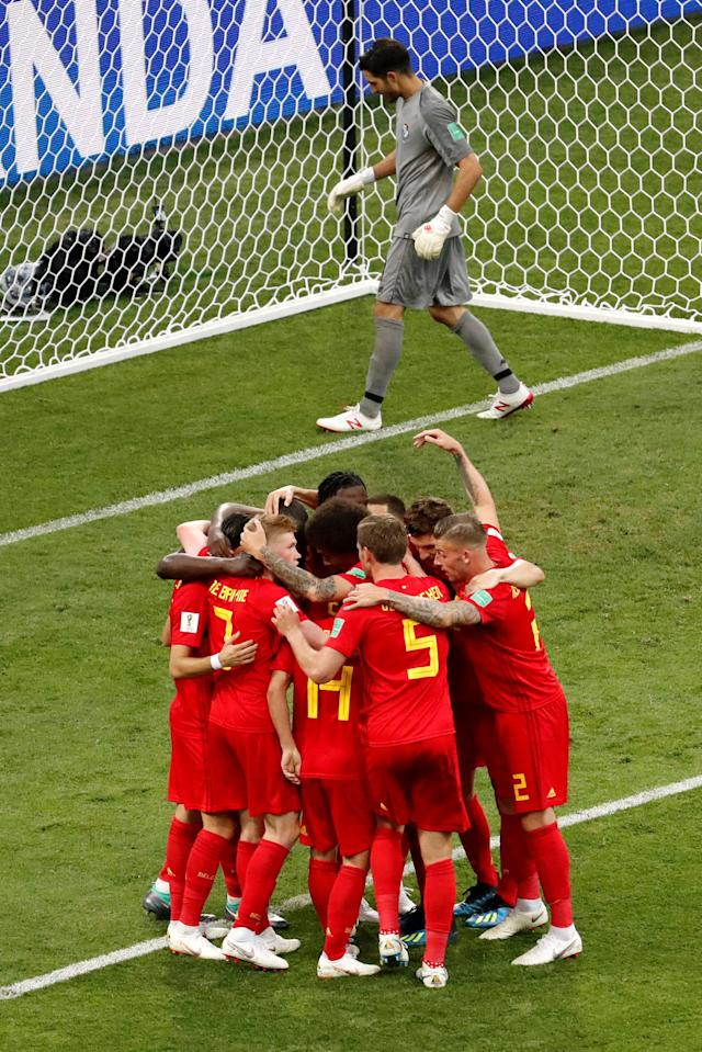Soccer Football - World Cup - Group G - Belgium vs Panama - Fisht Stadium, Sochi, Russia - June 18, 2018 Belgium's Romelu Lukaku celebrates with team mates after scoring their second goal REUTERS/Carlos Garcia Rawlins