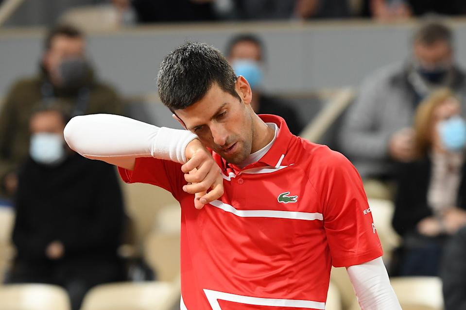 Novak Djokovic looking frustrated during a match at Roland Garros on October 11, 2020 in Paris, France.