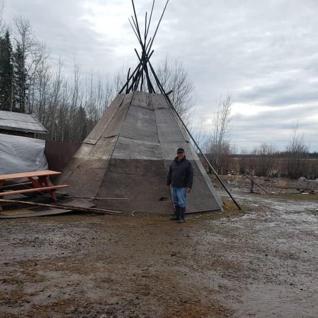 Paul Simon said the water reached five feet high on his mother's teepee in Jean Marie River. (Paul Thunder-Stealer/Facebook - image credit)
