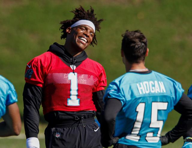 Chris Hogan has a new, very different quarterback with the Panthers. (AP Photo/Nell Redmond)