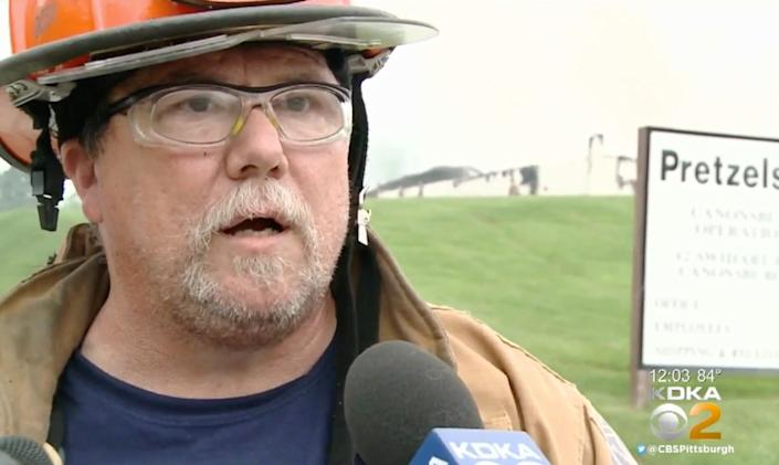 Volunteer Fire Chief Paul Smith of the Muse Fire Department, shown during an earlier interview, apologized and then resignedafter using aracial slur in a post about the Steelers coach. (Photo: KDKA)