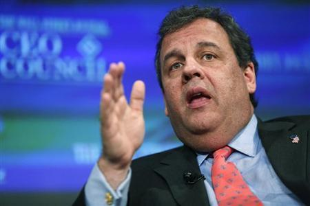 New Jersey Governor Christie participates in an interview during the Wall Street Journal's CEO Council annual meeting in Washington