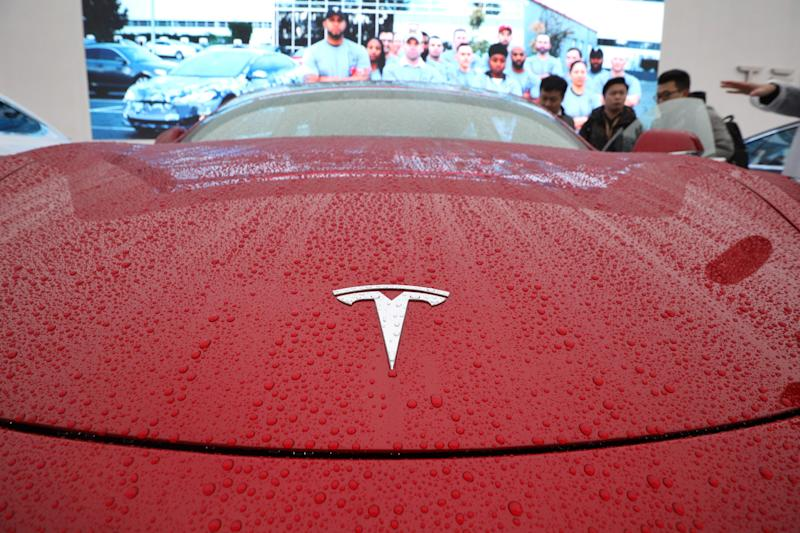 SHANGHAI, CHINA - JANUARY 07: A Tesla Model 3 is on display at the groundbreaking ceremony of Tesla Shanghai Gigafactory on January 7, 2019 in Shanghai, China. (Photo by Zhang Hengwei/China News Service/Visual China Group via Getty Images)