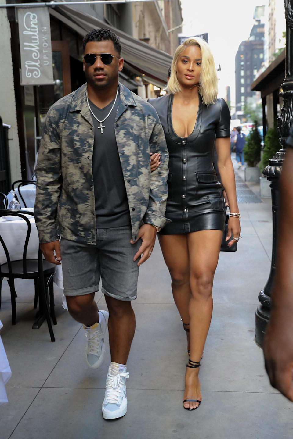 Ciara and Russell Wilson are seen arriving at Philippe Chow for dinner on June 30, 2021, in New York City, New York