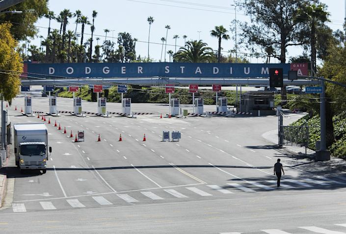 The public entrance to Dodger Stadium is closed on what would have been Opening day if not for the coronavirus outbreak.
