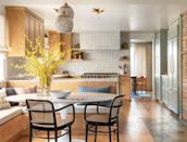 "<p>Cover your hood in the same material as your backsplash to make it look sleek and clean. Here, interior designer <a href=""https://heidicaillierdesign.com/"" rel=""nofollow noopener"" target=""_blank"" data-ylk=""slk:Heidi Caillier"" class=""link rapid-noclick-resp"">Heidi Caillier</a> camouflaged a bulky appliance with zellige tiles. </p>"
