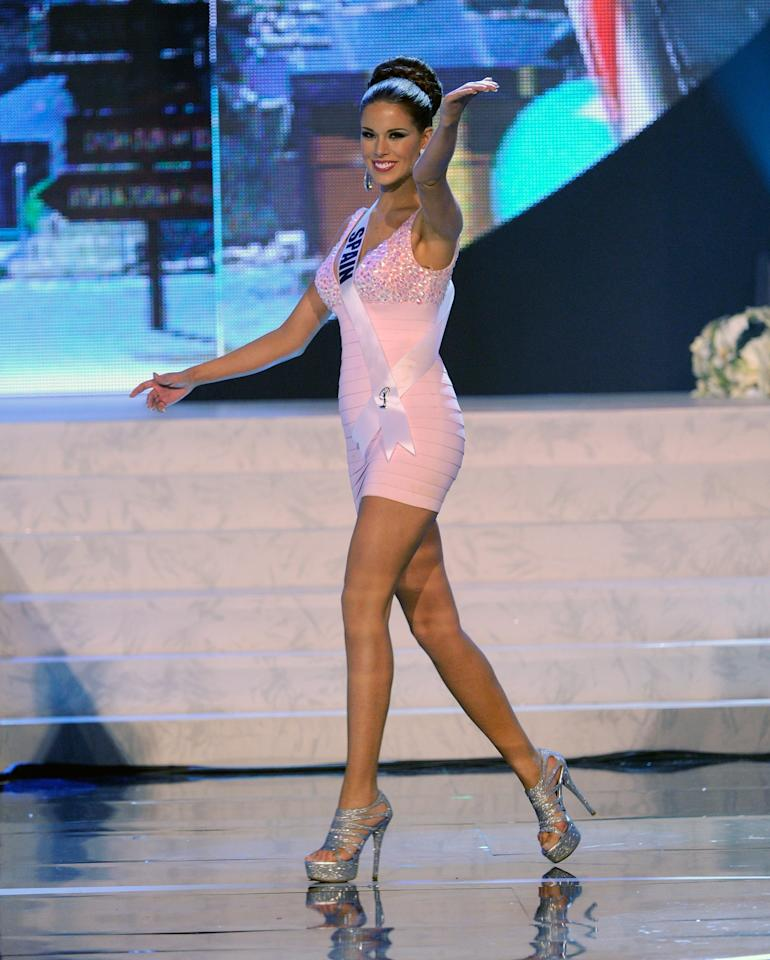 LAS VEGAS, NV - DECEMBER 19:  Miss Spain 2012, Andrea Huisgen, is introduced during the 2012 Miss Universe Pageant at PH Live at Planet Hollywood Resort & Casino on December 19, 2012 in Las Vegas, Nevada.  (Photo by David Becker/Getty Images)