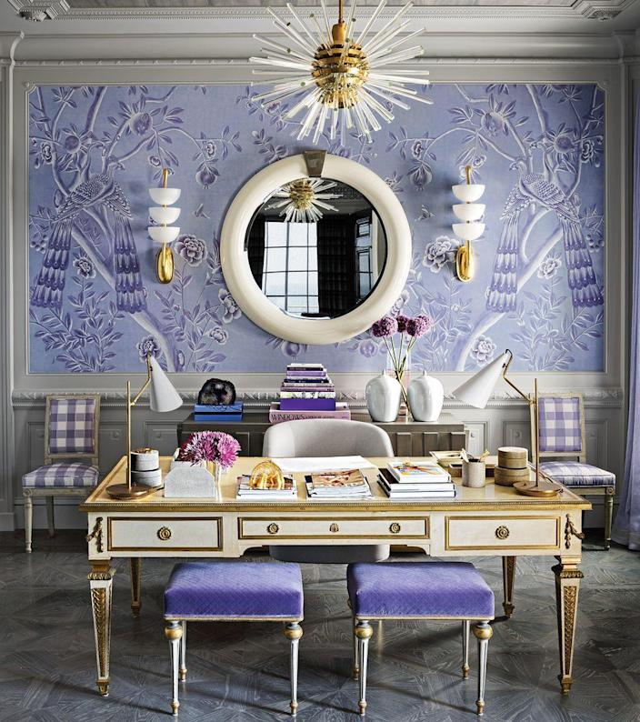 """<p>If an all-neutral room is not your style, there's no need to worry. Going for a bold accent wall and a palette of daring hues, like this design by <a href=""""https://www.elledecor.com/design-decorate/house-interiors/a26133415/mary-mcdonald-two-faced-founders-house-tour-california/"""" rel=""""nofollow noopener"""" target=""""_blank"""" data-ylk=""""slk:Mary McDonald"""" class=""""link rapid-noclick-resp"""">Mary McDonald</a>, can energize a room and make it appear brighter. </p>"""