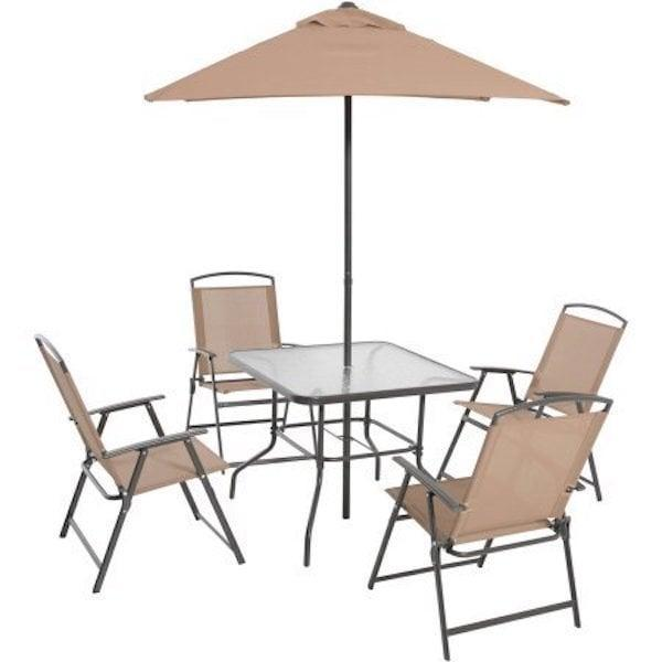 <p>Can't you imagine having a lovely summer meal outside on this <span>Mainstays Albany Lane 6-Piece Folding Seating Set</span> ($186)?</p>