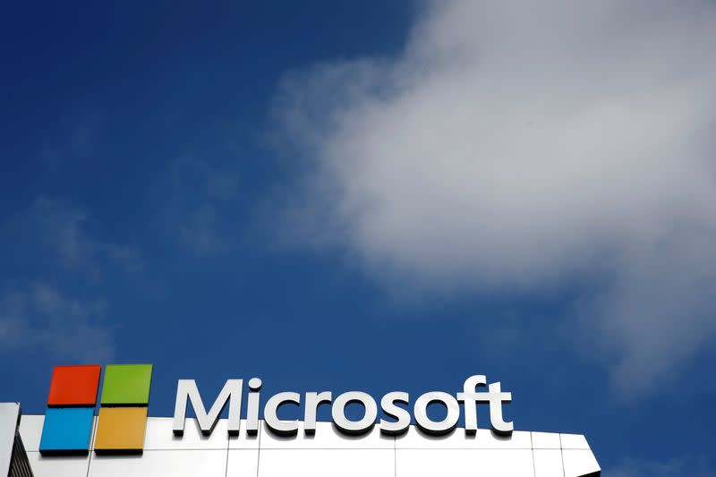 A Microsoft logo is seen next to a cloud in Los Angeles