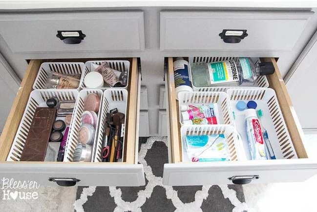 """<p>Instead of starting your day by running late (again), dedicate one drawer to makeup, one to cleaning products, and your entire morning to maximum effectiveness.</p><p><em><a href=""""http://thesummeryumbrella.com/2015/07/dollar-store-bathroom-drawer-organization/"""" rel=""""nofollow noopener"""" target=""""_blank"""" data-ylk=""""slk:See more at The Summery Umbrella »"""" class=""""link rapid-noclick-resp"""">See more at The Summery Umbrella »</a></em></p><p><strong>What you'll need: </strong><span class=""""redactor-invisible-space"""">drawer organizers, $12 for a 3-pack, <a href=""""https://www.amazon.com/FriendShip-Shop-Plastic-Storage-Organization/dp/B01BZ0PKH6/?tag=syn-yahoo-20&ascsubtag=%5Bartid%7C10072.g.36006557%5Bsrc%7Cyahoo-us"""" rel=""""nofollow noopener"""" target=""""_blank"""" data-ylk=""""slk:amazon.com"""" class=""""link rapid-noclick-resp"""">amazon.com</a></span><br></p>"""