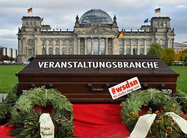 Demonstrators in Berlin have that coronavirus lockdowns will be the death of many German businesses -- in this case in the event industry