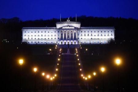 Parliament buildings at Stormont is seen at night in Belfast