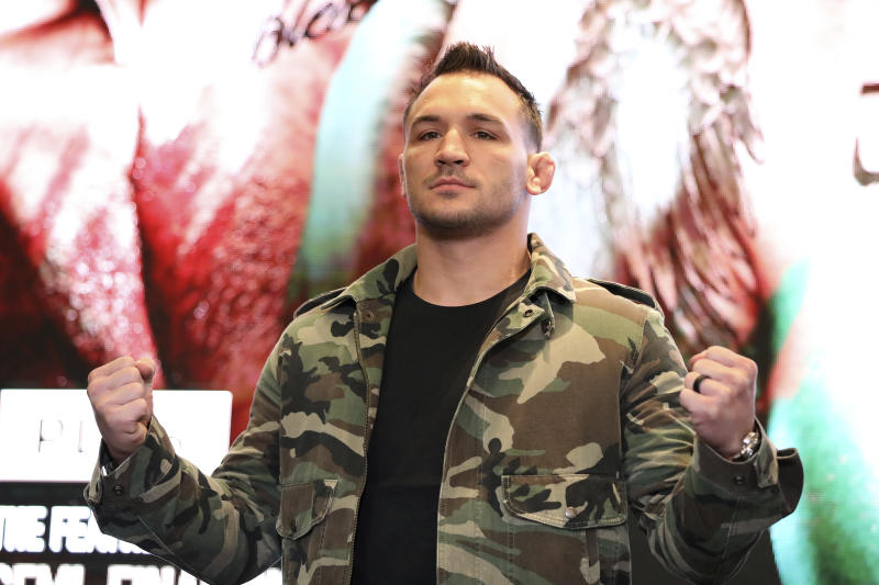 Michael Chandler is seen at a news conference promoting the Bellator Spring & Summer fight cards on Monday, March 9, 2020, in New York City. (AP Photo/Gregory Payan)