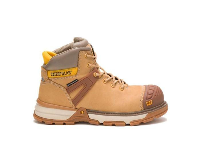 """<p><strong>Caterpillar</strong></p><p>catfootwear.com</p><p><strong>$160.00</strong></p><p><a href=""""https://go.redirectingat.com?id=74968X1596630&url=https%3A%2F%2Fwww.catfootwear.com%2FUS%2Fen%2Fexcavator-superlite-waterproof-nano-toe-work-boot%2F44904M.html%3Fdwvar_44904M_color%3DP91196%23cgid%3Dmens-waterproof%26srule%3Dtop-sellers%26start%3D1&sref=https%3A%2F%2Fwww.menshealth.com%2Fstyle%2Fg37095236%2Fbest-rain-boots-for-men%2F"""" rel=""""nofollow noopener"""" target=""""_blank"""" data-ylk=""""slk:BUY IT HERE"""" class=""""link rapid-noclick-resp"""">BUY IT HERE</a></p><p>Cat Footwear offers a waterproof work boot that's durable and comfortable. The Excavator Superlite shoes come in Nano Toe or Soft Toe and work against slippery surfaces. Plus, it has Electrical Hazard Protection against open circuits up to 600 volts. </p>"""