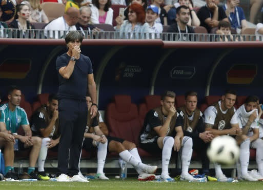 Germany head coach Joachim Loew looks on as time runs out in their group F match between against Mexico at the 2018 soccer World Cup in the Luzhniki Stadium in Moscow, Russia, Sunday, June 17, 2018. (AP Photo/Eduardo Verdugo)