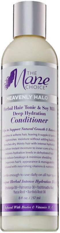 """<p>""""<span>The Mane Choice Heavenly Halo Herbal Hair Tonic and Soy Milk Deep Hydration Conditioner</span> ($16) is loaded with glycerin, which 4c type hair really loves. It's heavy, which is good, and it has lasting slip that you can feel."""" - <a href=""""https://www.instagram.com/pekelariley/"""" class=""""link rapid-noclick-resp"""" rel=""""nofollow noopener"""" target=""""_blank"""" data-ylk=""""slk:Pekela Riley"""">Pekela Riley</a>, celebrity hairstylist and Ulta Beauty pro team member</p>"""