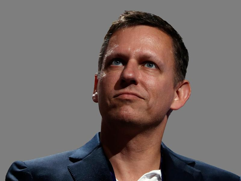 Peter Thiel headshot, venture capitalist, graphic element on gray