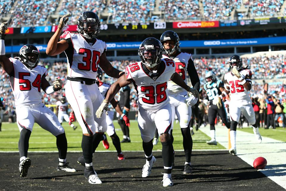 Nov 17, 2019; Charlotte, NC, USA; Atlanta Falcons running back Kenjon Barner (38) reacts after returning a punt for a touchdown in the first quarter against the Carolina Panthers at Bank of America Stadium. Mandatory Credit: Jeremy Brevard-USA TODAY Sports