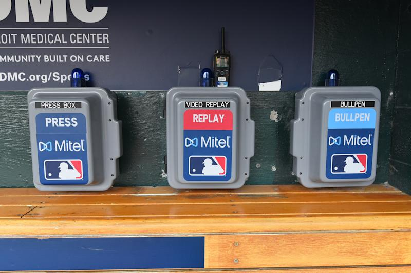 DETROIT, MI - MAY 07: A detailed view of the Mitel Press Box, Video Replay and Bullpen telephones in the Los Angeles Angels of Anaheim dugout prior to the game against the Detroit Tigers at Comerica Park on May 7, 2019 in Detroit, Michigan. The Angels defeated the Tigers 5-2. (Photo by Mark Cunningham/MLB Photos via Getty Images)