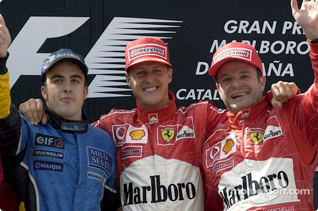 "4- Fernando Alonso, 3º en el GP de España 2003 con Renault <span class=""copyright"">Ferrari Media Center</span>"