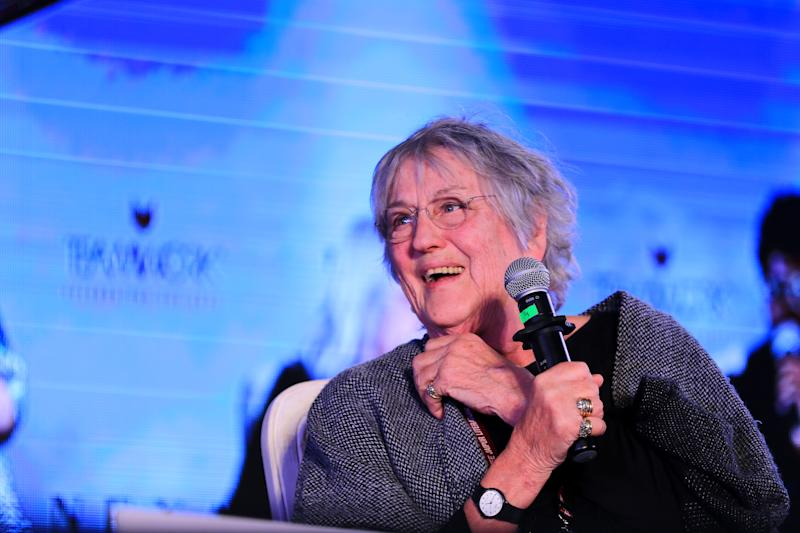 Australian writer Germaine Greer speaks during the Jaipur Literature Festival 2019, at Diggi Palace in Jaipur ,Rajasthan,India Jan 27,2019.(Photo By Vishal Bhatnagar/NurPhoto via Getty Images) (Photo by Vishal Bhatnagar/NurPhoto via Getty Images)