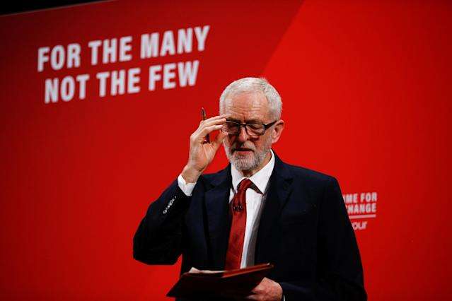 Labour leader Jeremy Corbyn speaks at the Bernie Grant Arts Centre in London on 26 November. Photo: Henry Nicholls/Reuters