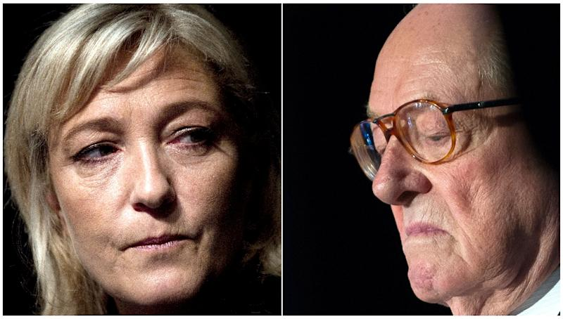 National Front leader Marine Le Pen is feuding with her father, party founder, Jean-Marie Le Pen (AFP Photo/Joel Saget, Guillaume Souvant)