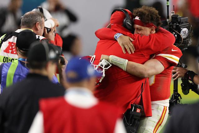 MIAMI, FLORIDA - FEBRUARY 02: Patrick Mahomes #15 of the Kansas City Chiefs celebrates with head coach Andy Reid after defeating the San Francisco 49ers in Super Bowl LIV at Hard Rock Stadium on February 02, 2020 in Miami, Florida. (Photo by Al Bello/Getty Images)