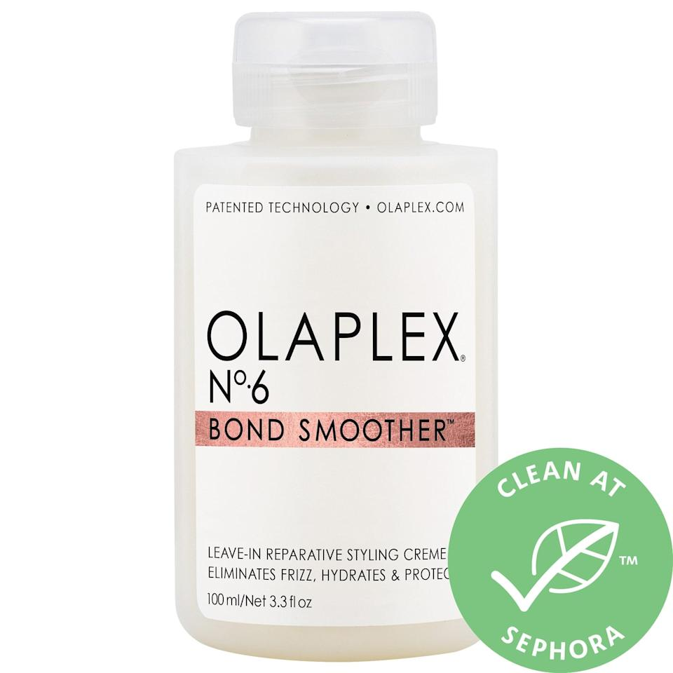 """<p>Not only does this <a href=""""https://www.popsugar.com/buy/Olaplex-6-Bond-Smoother-Reparative-Styling-Creme-578811?p_name=Olaplex%20No.%206%20Bond%20Smoother%20Reparative%20Styling%20Creme&retailer=sephora.com&pid=578811&price=28&evar1=bella%3Aus&evar9=47520410&evar98=https%3A%2F%2Fwww.popsugar.com%2Fbeauty%2Fphoto-gallery%2F47520410%2Fimage%2F47520420%2FOlaplex-No-6-Bond-Smoother-Reparative-Styling-Creme&list1=hair%2Csephora%2Cshampoo%2Cconditioner%2Cbeauty%20shopping%2Cstaying%20home&prop13=mobile&pdata=1"""" class=""""link rapid-noclick-resp"""" rel=""""nofollow noopener"""" target=""""_blank"""" data-ylk=""""slk:Olaplex No. 6 Bond Smoother Reparative Styling Creme"""">Olaplex No. 6 Bond Smoother Reparative Styling Creme</a> ($28) hydrate and strengthen all hair types, it also speeds up blow dry times to result in smoother, less frizzy styles in the end. </p>"""